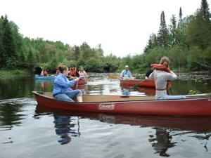 Canoeing down Tenderfoot Creek at UNDERC-East